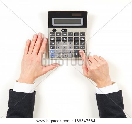 Hands Businesswoman And Grey Calculator