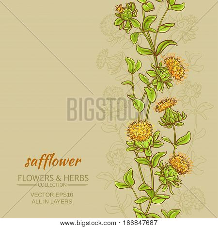 safflower plant vector pattern on color background