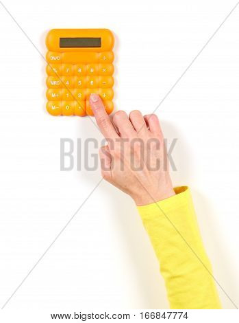 Hands In Yellow Jacket And Yellow Calculator