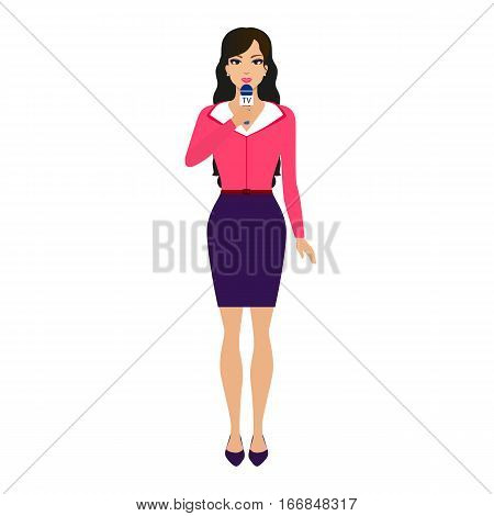 Vector illustration of a beautiful girl reporter with a microphone. Isolated white background. Woman correspondent, journalist. The concept of journalism, television and news.