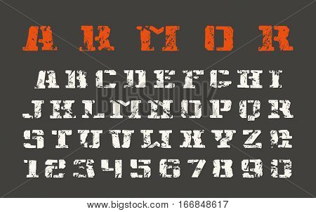 Stencil-plate serif font and numerals in the style of hand-drawn graphics. Print on black background