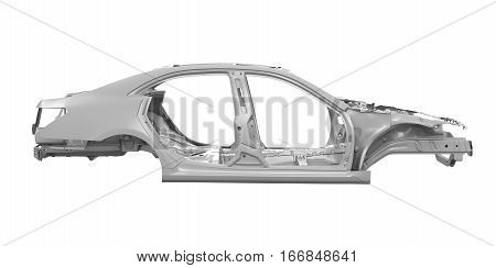 Unibody Car Chassis isolated on white background. 3D render