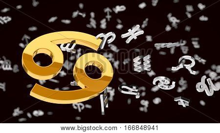 astrology themed 3d illustration with choosen one cancer sign and other symbols in background.