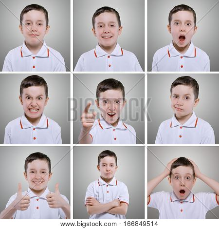 Little Boy Emotions. Collage Of Different Boy Emotions