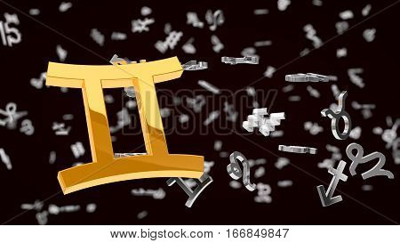 astrology themed 3d illustration with choosen one gemini sign and other symbols in background.