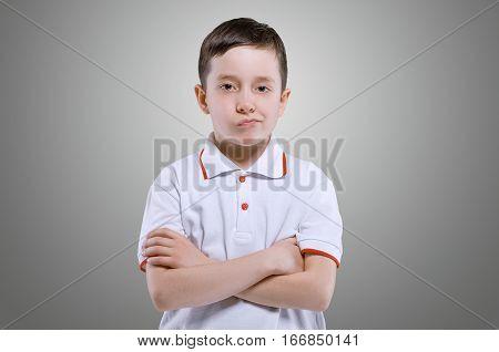 Grimacing Face Boy Portrait