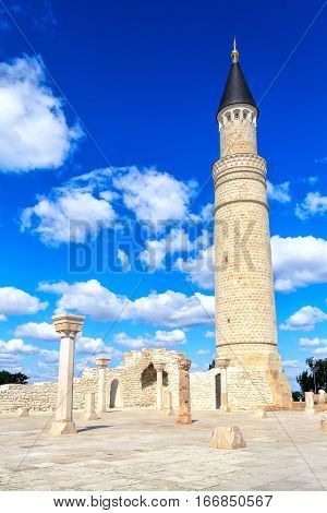 Bulgarian state historical and architectural Museum-reserve. Great minaret and the interior of the mosque