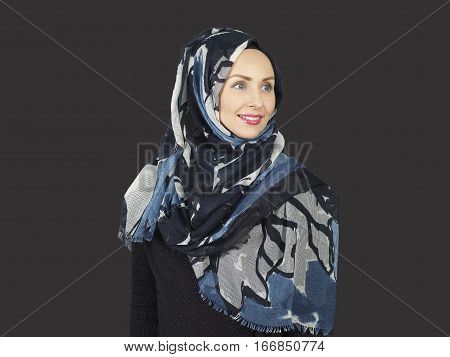 beautiful young modern muslim women portrait with scarf