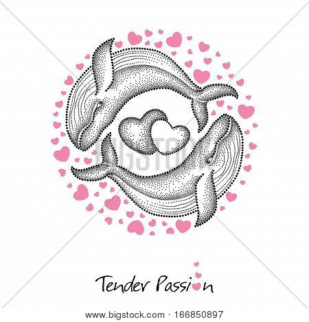 Vector illustration with two dotted humpback whale in black and round frame with pink hearts isolated on white background. Romantic design for Valentine day. Marine elements in dotwork style.