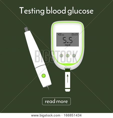 device for measuring blood sugar and a lancet. glucose meter