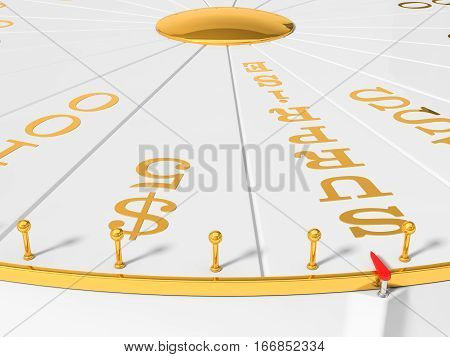 3d illustration of wheel of luck. close view.