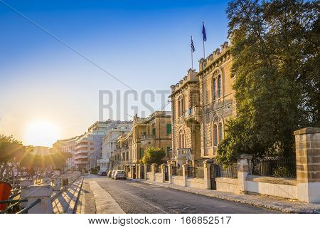 Msida Malta - Beautiful sunset at the old streets of Msida the central city of Malta with blue sky