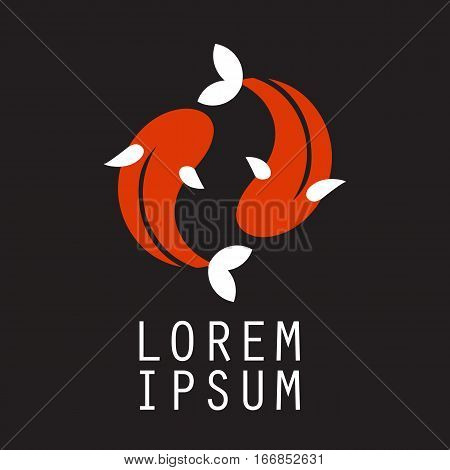 Koi logo japan fish japanese symbol background illustration vector stock