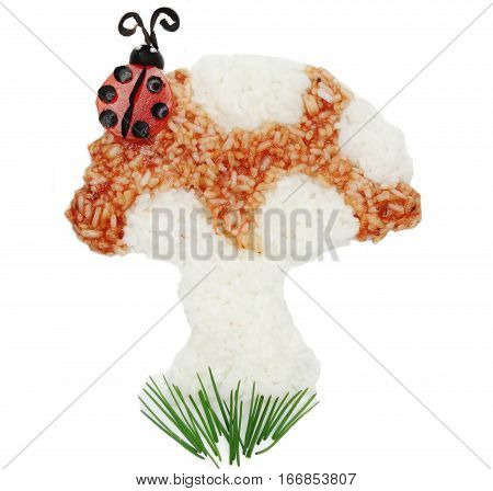 creative vegetable food meal with rice mushroom and ladybird form
