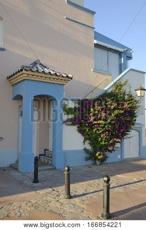 Colorful house in Puerto Sherry marina located in the Port of Saint Mary Cadiz Spain.