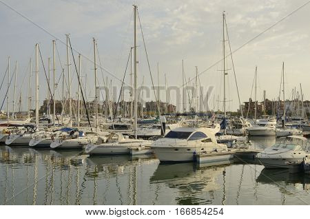 THE PORT OF SAINT MARY, SPAIN - AUGUST 2, 2013: Sailboats at Sherry Port a marina located in the Bay of Cadiz the Port of Saint Mary Spain.