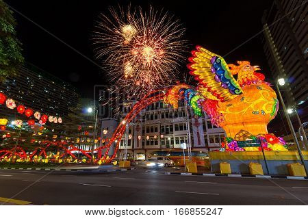 Singapore Chinatown 2017 Lunar Chinese New Year Celebration with Fireworks and Year of the Rooster Decoration