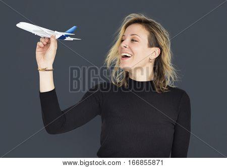 Woman Airplane Model Studio Portrait Concept