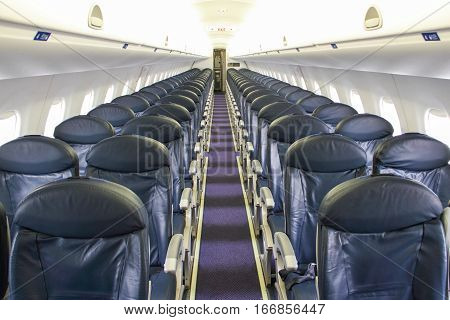 Seats in a Empty Jet Airplane for background