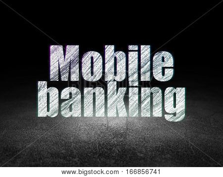 Money concept: Glowing text Mobile Banking in grunge dark room with Dirty Floor, black background