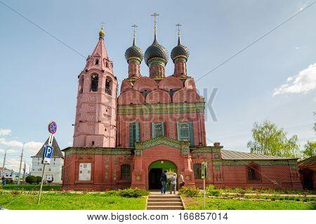YAROSLAVL RUSSIA - MAY 8 2016: Epiphany church is orthodox church in Yaroslavl Russia. Golden ring of Russia