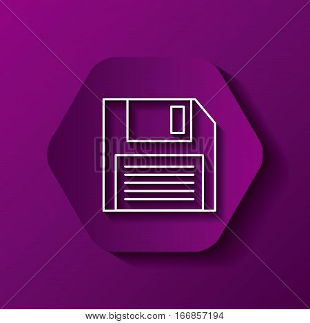 hexagon button with diskette  icon over purple background. colorful design. vector illustration