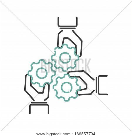 Business teamwork teambuilding thin line icon. Work command management thin lines and human resources sign concept vector. Communication strategy organization.