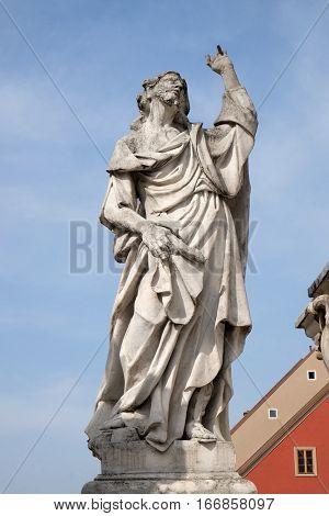 MARIBOR, SLOVENIA - APRIL 03: Saint James statue, Plague column at Main Square of the city of Maribor in Slovenia, Europe. Historical religious sculpture, April 03, 2016.