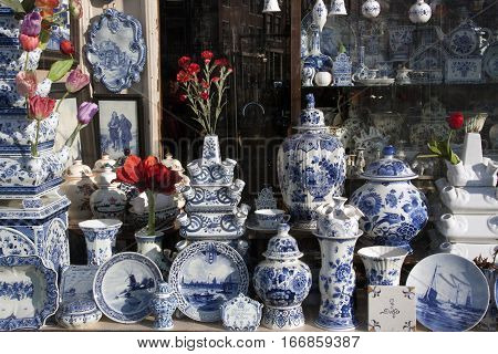 Shop With Delft Pottery In Amsterdam