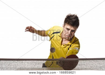 young man tennis-player in play on white background