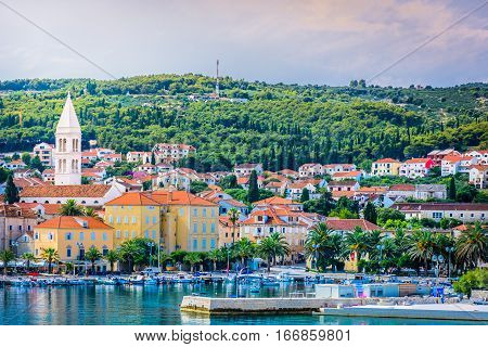 Seafront view of town Supetar, Island Brac, Croatia.