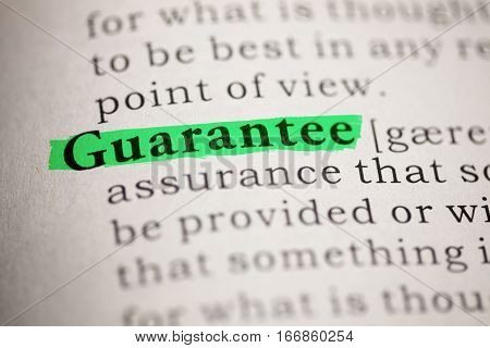 Fake Dictionary Dictionary definition of the word Guarantee.
