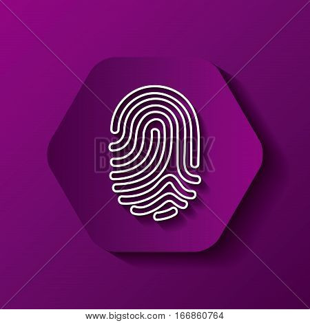 hexagon button with fingerprint  icon over purple background. colorful design. vector illustration