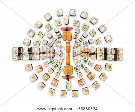 Japanese food restaurant delivery - sushi maki california roll big party platter set isolated on white background, above view