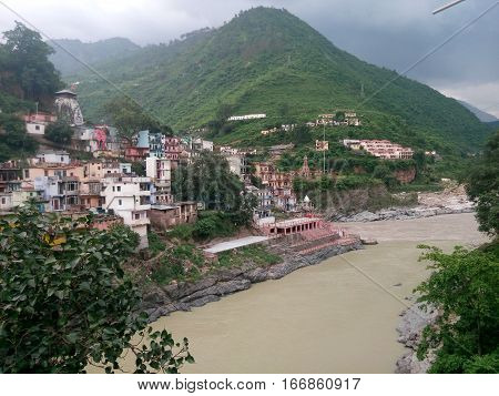 the origin of river ganga at devprayag India after confluence of two big rivers.