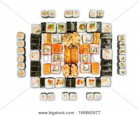 Japanese food restaurant delivery - sushi maki, unagi, california roll big party platter set isolated on white background, above view