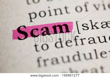 Fake Dictionary Dictionary definition of the word Scam.