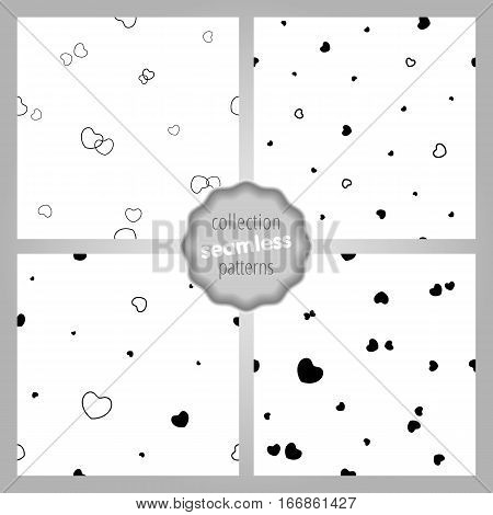 Сute seamless SET of patterns with dynamic hearts and contours. Monochrome. Love romantic and Valentine's Day background. Wrapping paper also. Easy and convenient to edit.