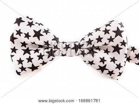 Blue bow tie with stars. white and black
