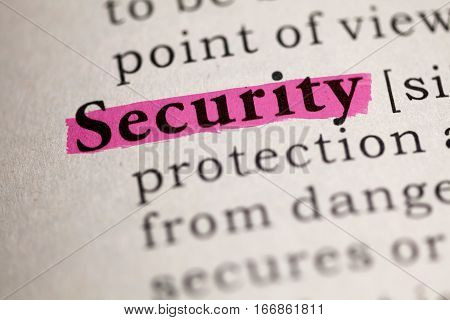 Fake Dictionary Dictionary definition of the word Security.