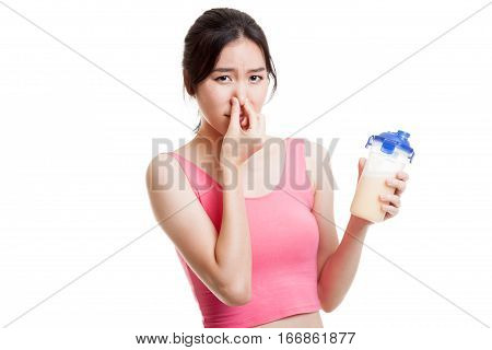 Beautiful Asian Healthy Girl Hate Whey Protein Smell.