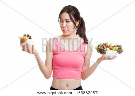 Beautiful Asian Healthy Girl With Salad And Hamburger.