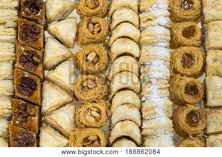 Assorted baklava, it is sweet pastry made of layers of filo with chopped nuts and sweetened and held together with honey. Traditional for former Ottoman Empire and Middle East