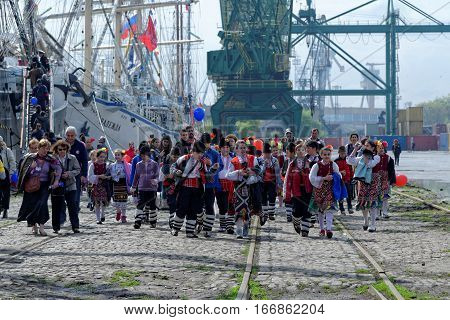 VARNA, BULGARIA - APRIL 30, 2014: Varna is a host of the prestigious international maritime event for a second time - the SCF Black Sea Tall Ships Regatta. Participants in the cultural program.