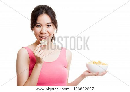 Beautiful Asian Healthy Girl  Eat Potato Chips.