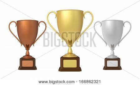 Gold, Silver and Bronze Trophies isolated on white background. 3D render