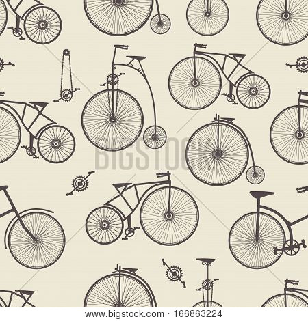 Background bicycle seamless repeating pattern in vintage retro style