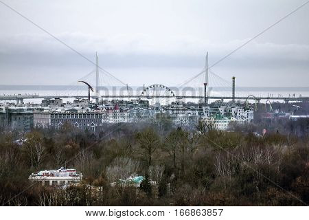 Saint-Petersburg .Russia.January 1 2017.View c height on the Ferris wheel and pylons of the Western high-speed diameter in Saint-Petersburg.