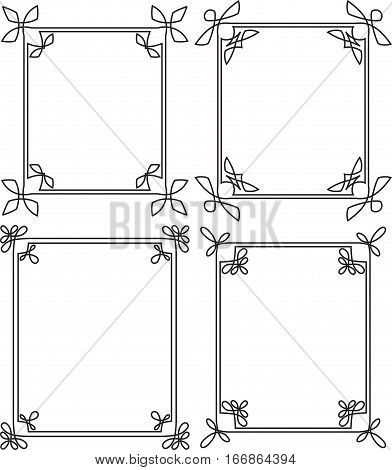 Set Of 4 Thin Decorative Frames In Mono Line Style