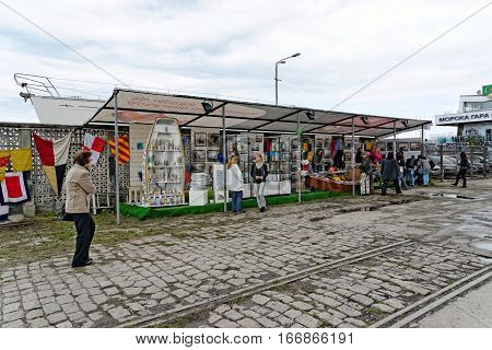 VARNA, BULGARIA - APRIL 30, 2014: Varna is a host of the prestigious international maritime event for a second time - the SCF Black Sea Tall Ships Regatta. Souvenier and info stands.